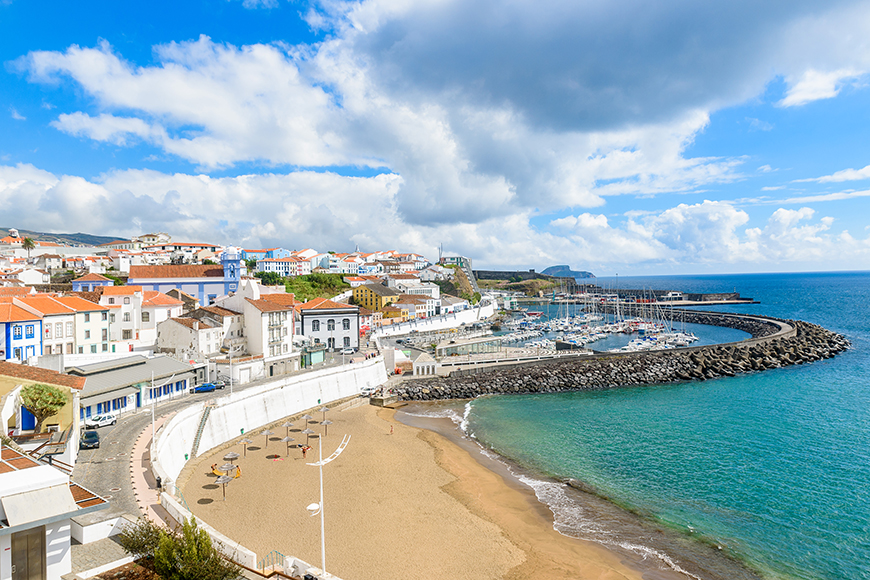 beach and town in azores portugal.
