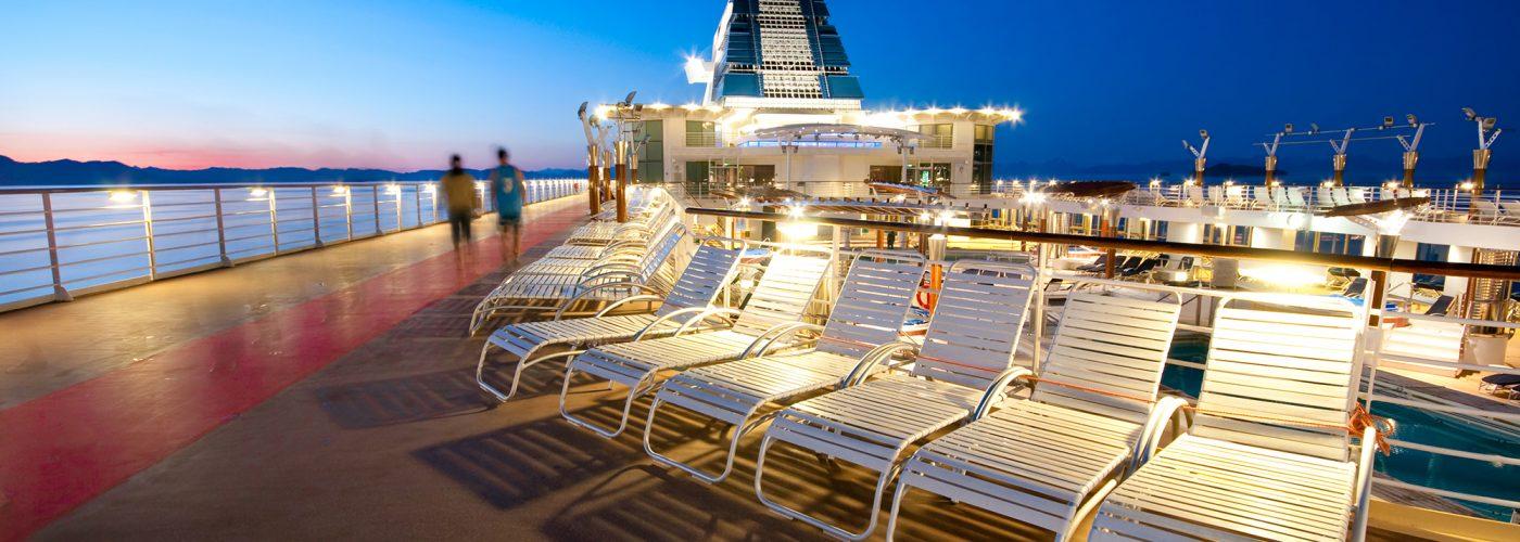 cruise ship deck at night