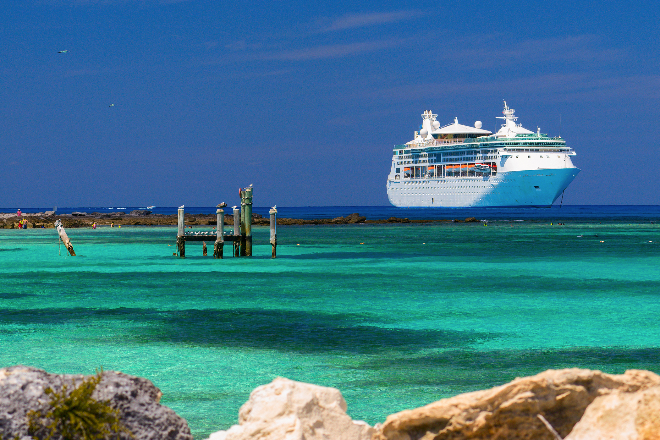 cruise ship anchored in the caribbean.