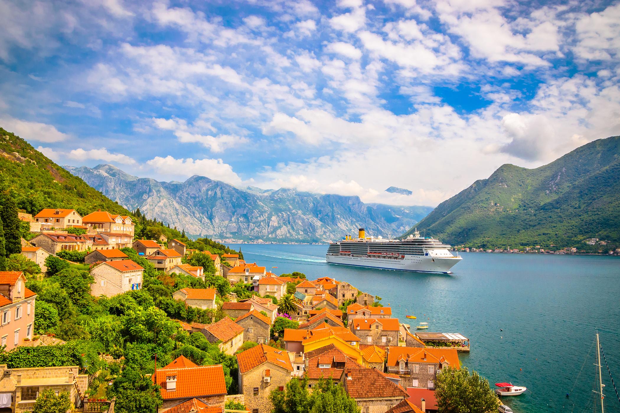cruise ship in mediterranean.