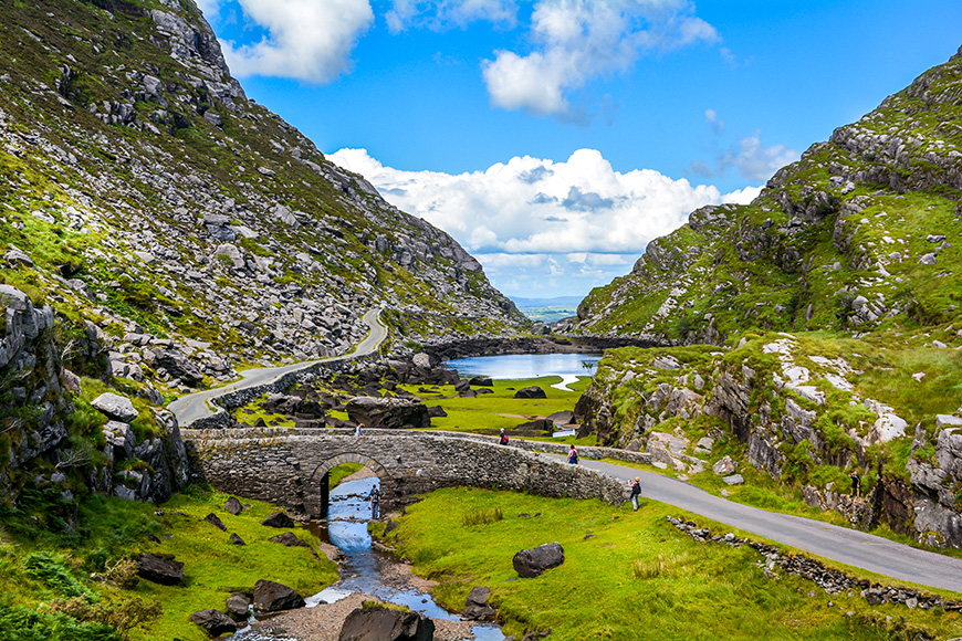 Scenic view of Gap of Dunloe, County Kerry, Ireland.