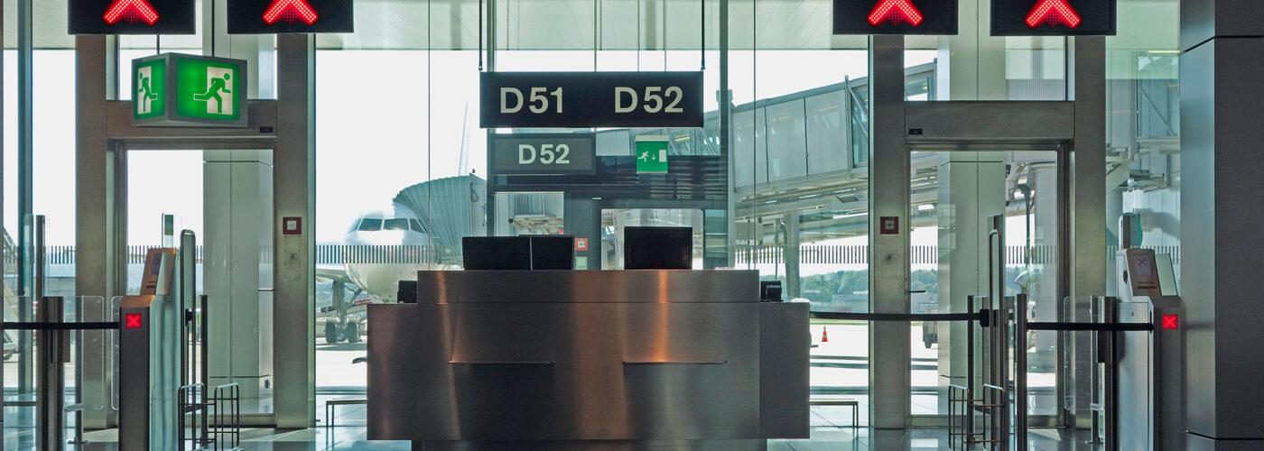 gate closed in airport terminal.