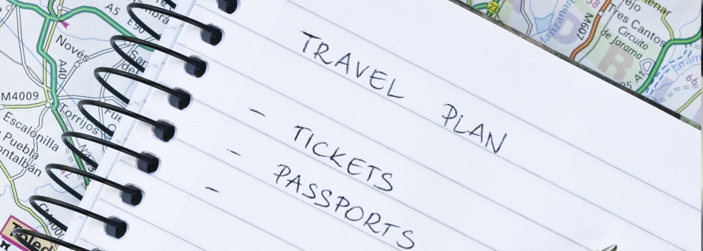 travel plan list on notebook
