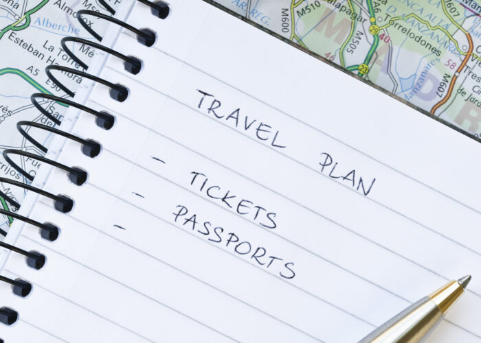 travel plan list on notebook