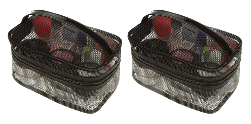 product image of mesh toiletry bag.