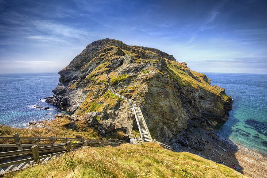 Tintagel, England's King Arthur Court and Merlin's Cave mythical places.