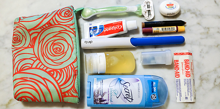 bag with small toiletry items