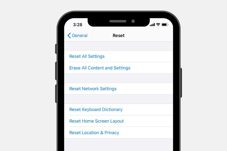 reset data on iphone
