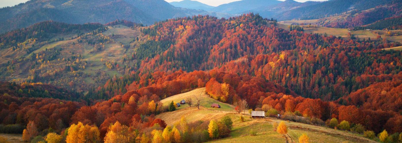 Autumn mountain landscape, aerial view