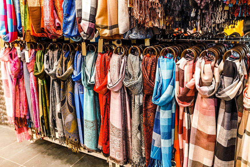 pashmina scarves on sale in a market