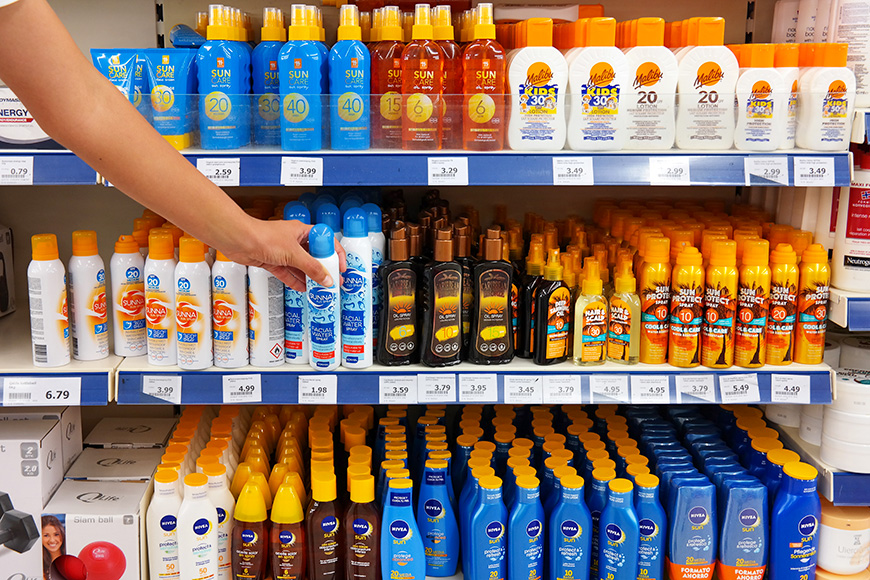 Sunscreen on shelf in a pharmacy