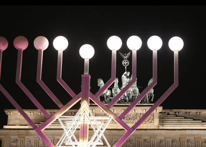 Menorah during Hanukkah in front of Brandenburg Gate