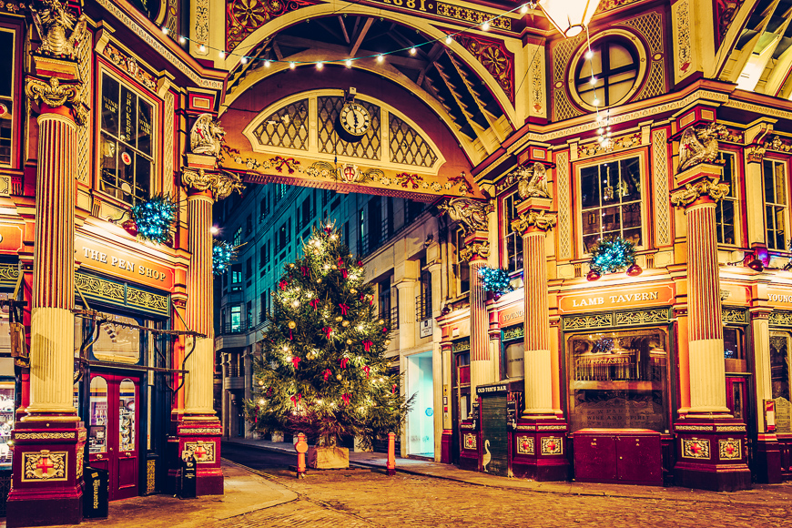leadenhall market in london with christmas decoration. victorian arcade of the market, built 19th century london