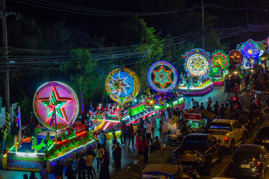 Star parade,christmas festival,star parade to celebrate christmas ,caravan star lamp,is a celebration of christians in sakon nakhon and ban tha rae,thai.