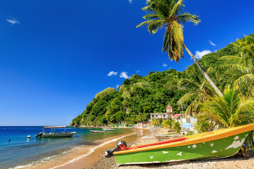 Boats on soufriere bay, soufriere, dominica.