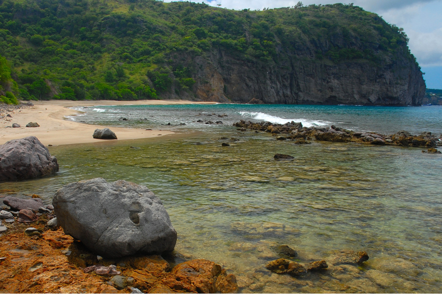 Rendezvous bay in montserrat, west indies, caribbean.