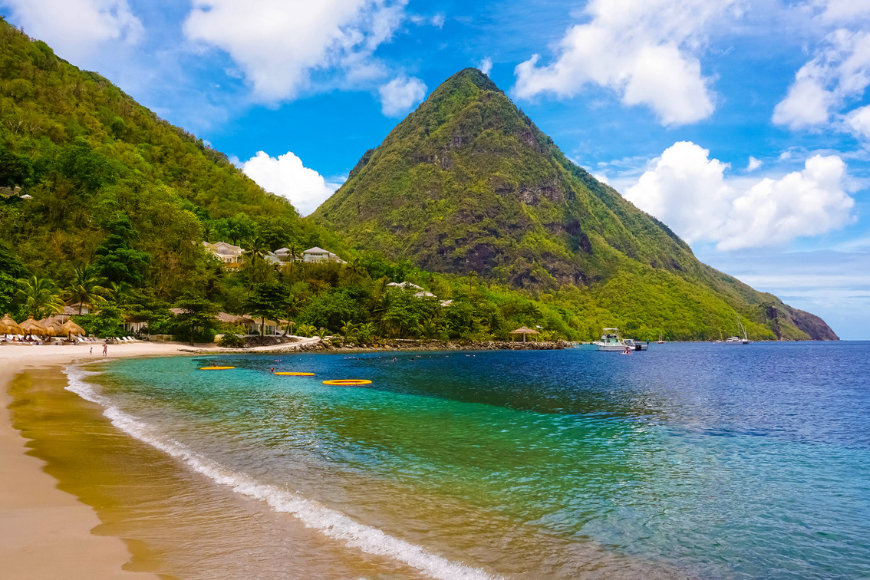 white beach in saint lucia, caribbean,
