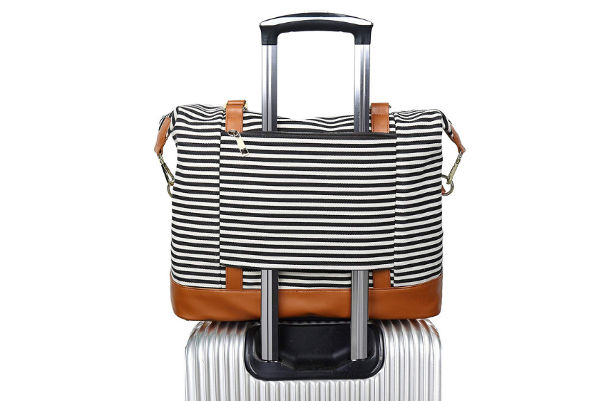 blueboon canvas travel weekender bag striped