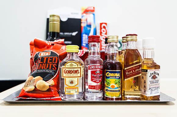 Minibar Drinks and Snacks