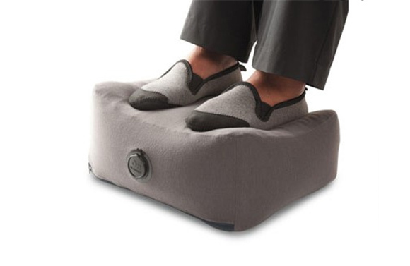 Feet resting on footrest