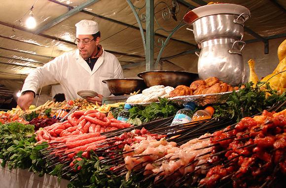 Kebabs at a Moroccan Souk