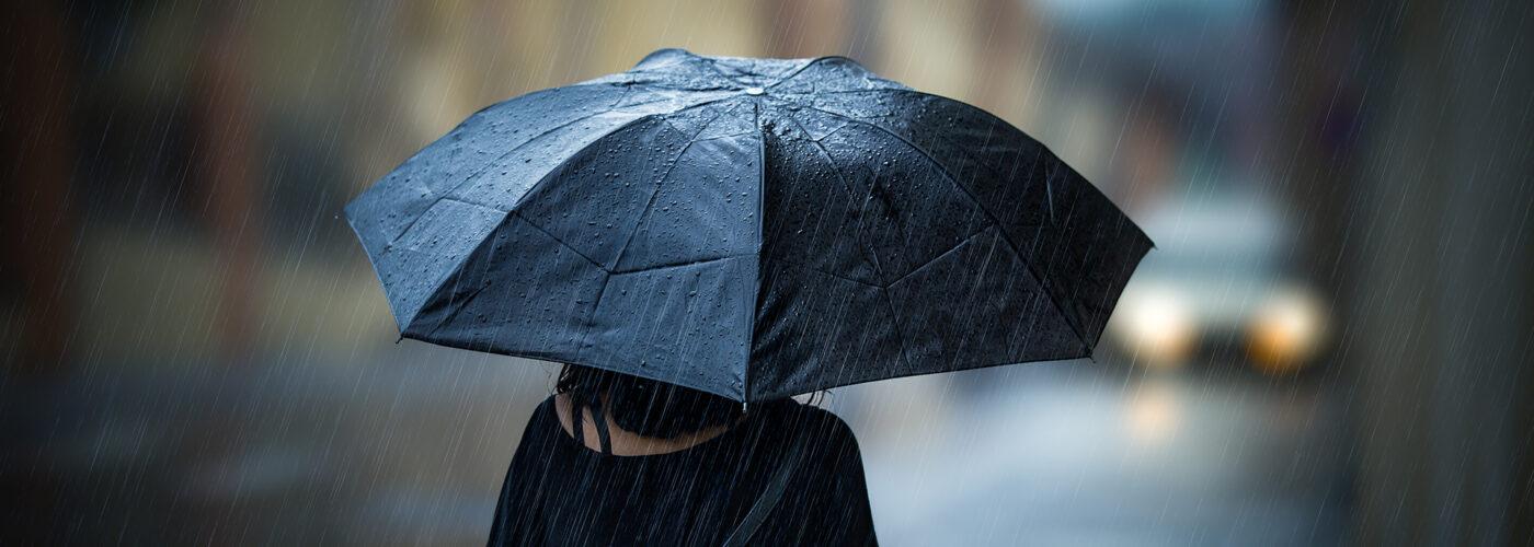 woman with umbrella in the rain.