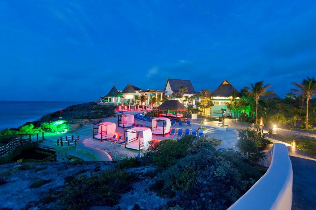 tulum beach resort at night