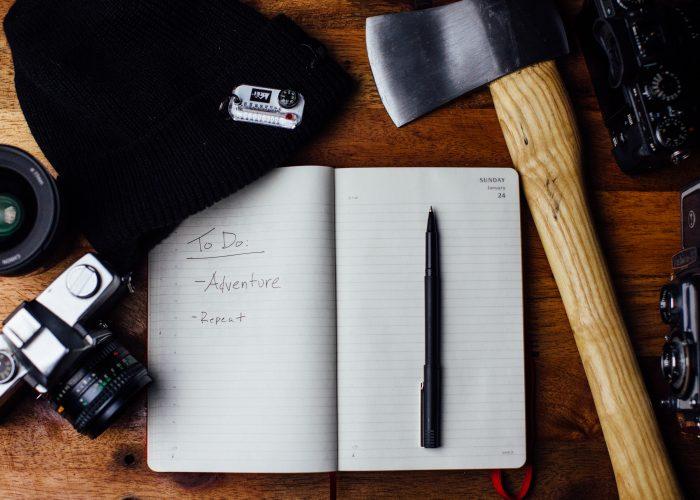 Travel Essentials Camera Notebook Hatchet