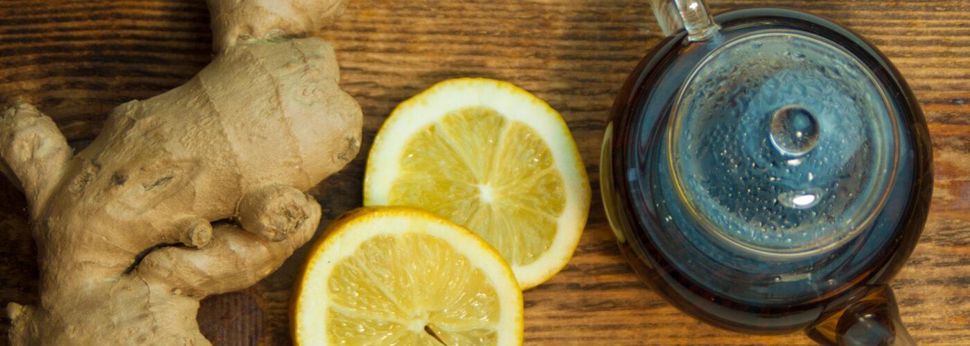 ginger lemon slices and teapot.
