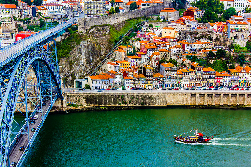 Ancient city Porto,metallic Dom Luis bridge  1 By