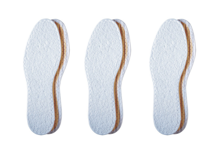 three cotton shoe insoles