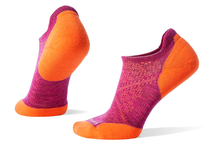 pair of orange and magenta socks