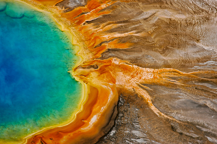 The grand prismatic spring, located in midway geyser basin