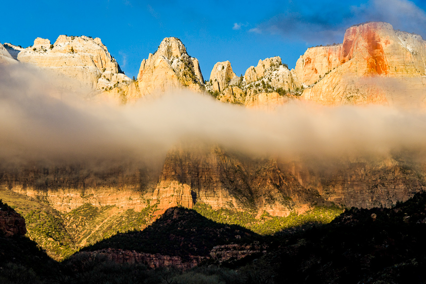 Morning fog on the towers of virgin zion national park