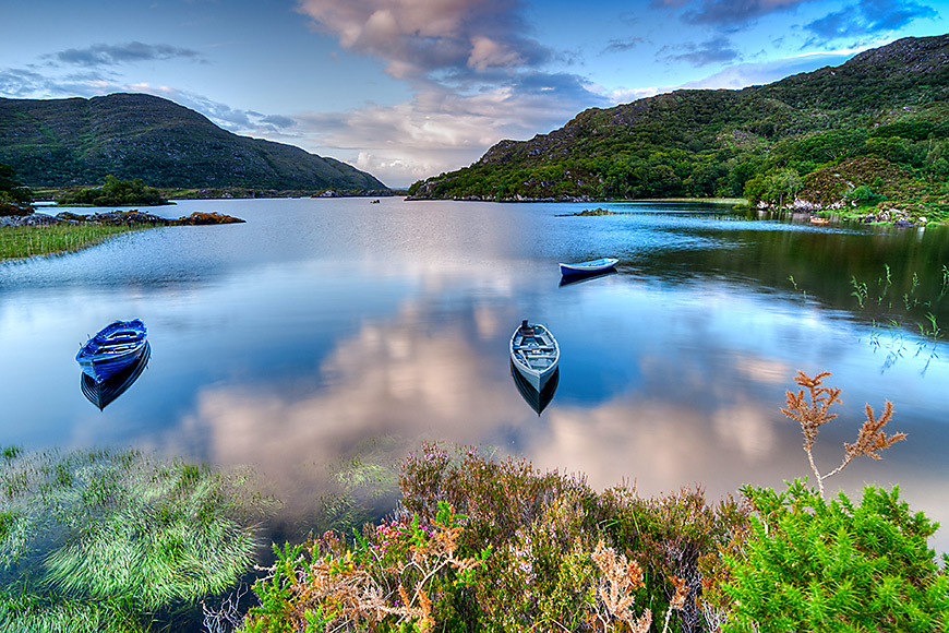 view of canoes on lake in killarney ireland