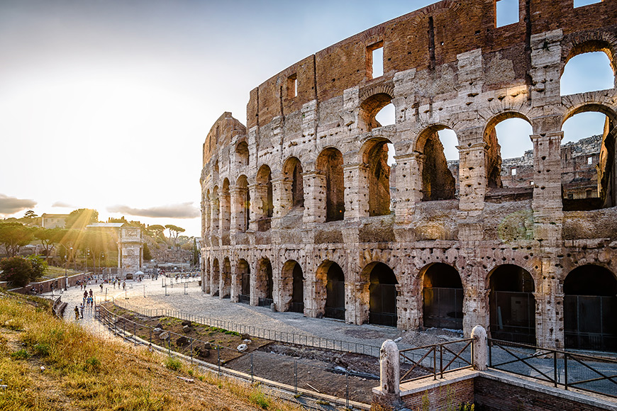 Outdoor view of the colosseum or coliseum, also known as flavian amphitheatre