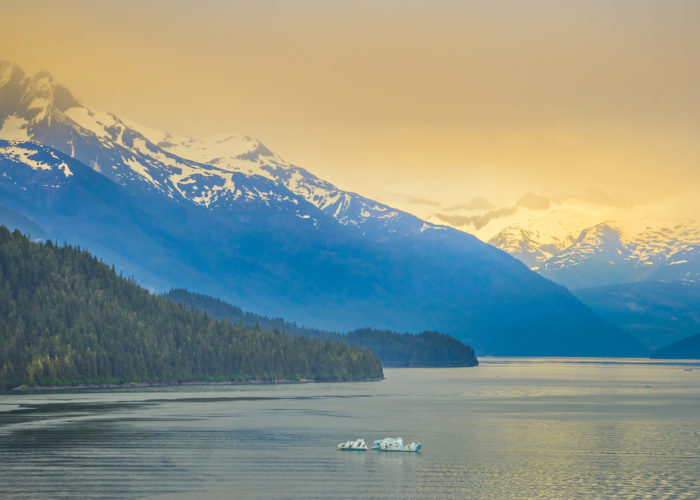 Mud Bay on Admiralty Island with glaciers in the background