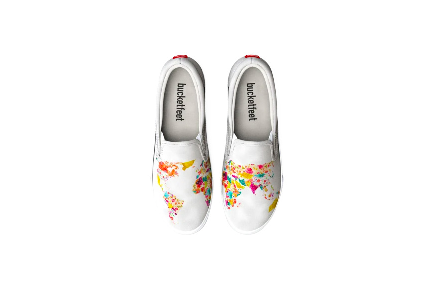 bucketfeet world map shoes