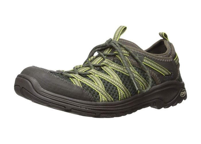 black and green hiking shoe