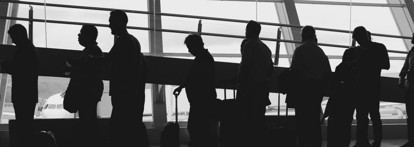 Line of people at airport