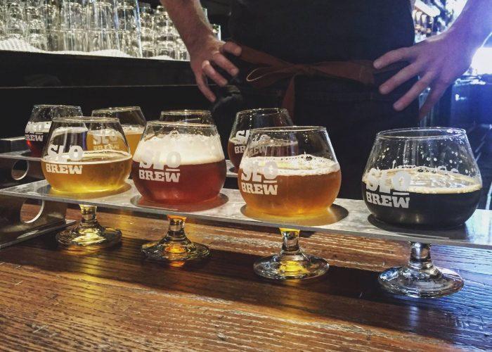 SLO Brew flight of beer