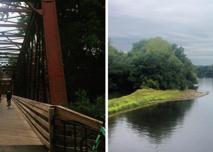 Rail bridge and water in Northampton MA