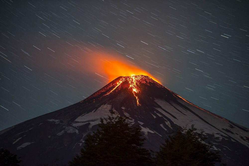 flowing lava at night