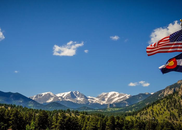 colorado flag mountain background