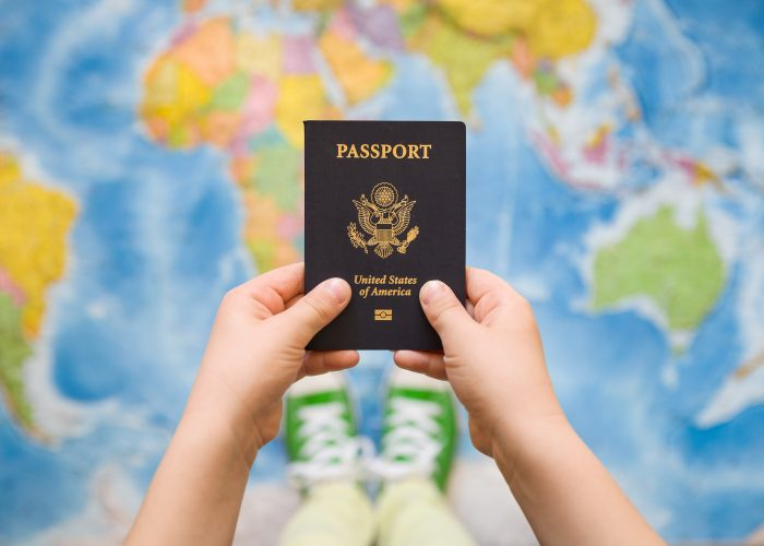 Child holding a passport