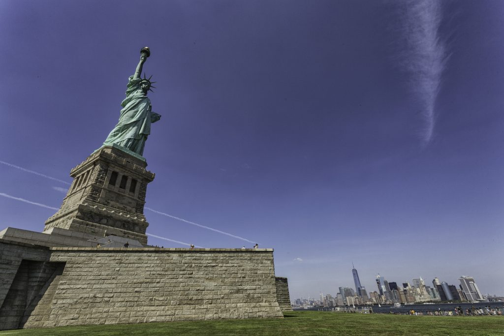 Ellis island and the statue of liberty
