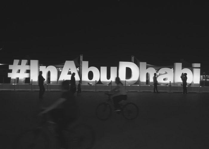 Abu Dhabi hashtag sign