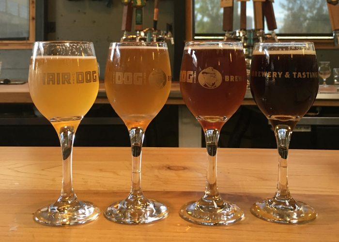 Hair of the Dog Brewery flight in Portland, Maine