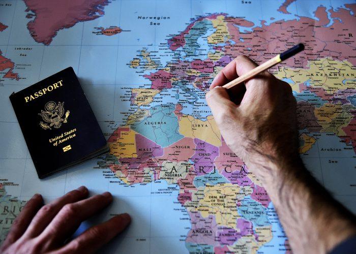 Passport on world map