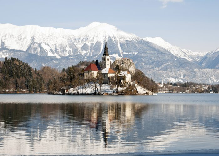 church on lake